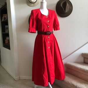 CYNTHIA ROWLEY Vtg cotton shirt dress red midi 10
